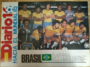 FOOTBALL POSTER NATIONAL TEAM BRAZIL FIFA WORLD CUP 82  - SPAIN 1982 - RARE