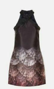 TED BAKER black ombre fan print halter Aline flare shift dress bow ev size 12