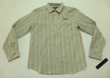 DKNY Boys Size Large (14-16) Grey Black & White Striped Button Front Shirt New