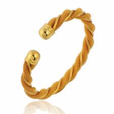 NEW_OR Jaune 14 ct Laminé/plaqué_Bracelet Manchette 55mm_Jonc Flexible_GF Bangle