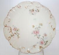 1897 Antique LS & S Limoges France Gold Trim Porcelain Hand Painted floral plate