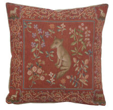French Tapestry Decorative Throw Pillow Cushion Cover 19x19 Medieval Fox