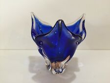 "Murano Art Glass Cobalt Blue & Clear Centerpiece Bowl, 8 1/4"" Tall x 8 1/2"" Dia"