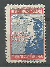 1950 s TURKEY DEVLET HAVA YOLLARI STATE AIRLİNES LABEL VERY RARE