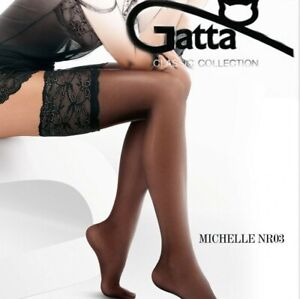 """Women Deep Lace Top Hold Ups Stockings """"Michelle 03"""" 20 Denier"""