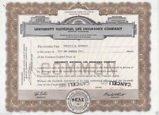 University National Life Insurance Company Year 1961  100 Shares  Brown