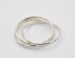 Sterling Silver Promise Trinity Ring Triple Bands Ring Fine Jewelry Skinny rolling Ring