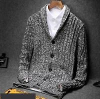 hot sale Mens Sweaters Cardigan Warm Cotton Button Slim Knitted Leisure Coats