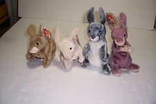 LOT OF 4 BUNNY RABBIT TY BEANIE BABIES HOPPER NIBBLER NIBBLY SPRINGY WITH TAGS