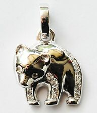 PANDA PENDANT GENUINE VS DIAMONDS SOLID 18K 750 WHITE GOLD VALUATION $2700 NEW