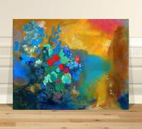 """Odion Redon Flowers ~ FINE ART CANVAS PRINT 36x24"""" ~ Abstract"""