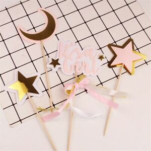 It's a Boy Moon Ornaments Star Plug-in Cake Insert It's a Girl Cake Flag