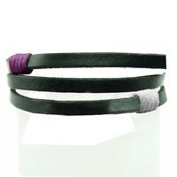 BRACELET homme ou femme réglable CUIR NOIR 3 bandes coton blanc et violet