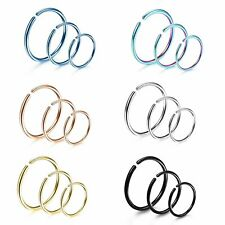 Cartilage Septum Nose Lip Ear Hoop 18pcs 20G Annealed Seamless Bendable Ring
