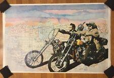 Rare 1960s 2-Sided Easy Rider Poster Fonda Hopper Finger Map Motorcycle Vintage