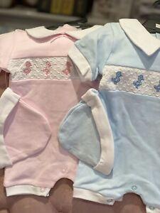 Baby Girls Boys All in One Romper Spanish Style Newborn Smocked 100% Cotton 0-9