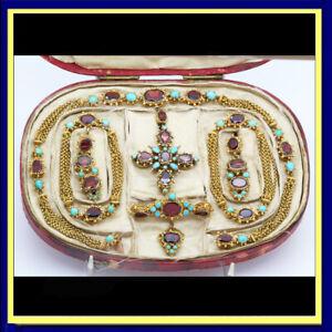 Georgian Set Earrings Necklace Bracelets Pendants Brooch Turquoise Garnets(6112)