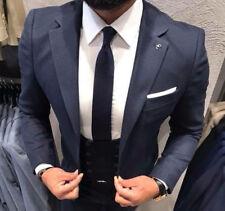 Diseñador Negocios Azul Oscuro Traje Chaqueta Pantalón Chaleco Entallado