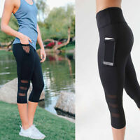 Black 3/4 Women High Waist Yoga Fitness Leggings Capri Running Gym Sports Pants