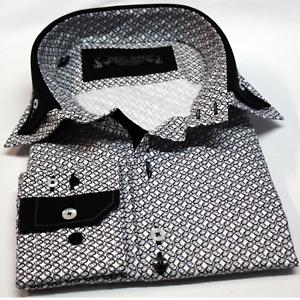 Men's Circle Pattern Double Collar  Casual Shirt Cotton Slim Fit Size S - 2XL