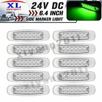 """10X 12 LED Extra Slim 6.4"""" Clearance Side Marker Lamp RV Light 24V Clear / Green"""