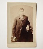 Cabinet Card Photo Little Falls NY W H Abbott Antique Photograph Young Man