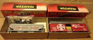 2 Vintage Mantua HO Gauge Frt Car Kits Santa Fe Box Car Spreckels Sugar Hopper