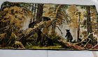 Vintage Tapestry Made in Italy Black Bear Cubs  R.T. Co NY Italian