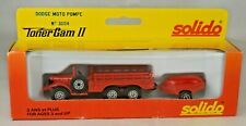 Solido France #3004 Dodge 6 X 6 Moto Pompe Fire Truck W/Trailer Mint With Box