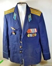 VINTAGE RUSSIAN RUSSIA 1980 AIR FORCE OFFICER TUNIC JACKET WITH MEDALS 56C