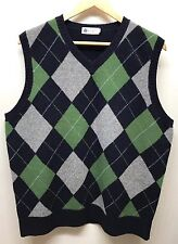 J. Crew Men's Sweater Vest Argyle Large Lambs Wool Green Black Grey