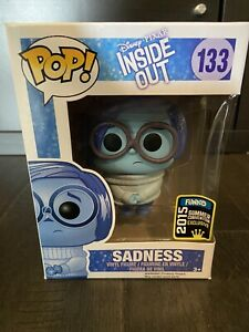 Funko Pop Disney Pixar Inside Out SADNESS w/Glitter SDCC Convention Excl *damage