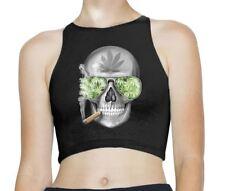 Marijuana Weed Skull Sleeveless High Neck Crop Top