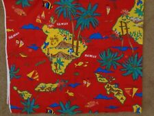 """Vintage Cranston  Hawaii Fabric 2 Yd - 45"""" wide 100% Cotton Red Map"""