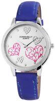 Donna Kelly Damenuhr Weiß Blau Herz Analog Kunst-Leder Armbanduhr D-191023000001