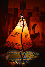 Moroccan Floor Lamp Henna Goat Skin Handmade Decorative Home Decor Small Orange