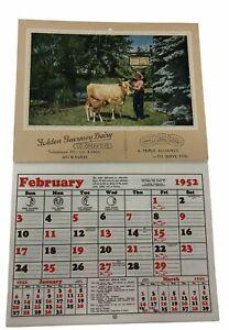 GOLDEN GUERNSEY DAIRY 1952 CALENDAR WI CO-Operative Deale Dairy Farm Milk Delive