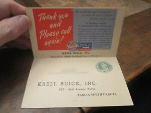 1950 KRELL BUICK FARGO ND AD BI-FOLD POSTCARD-BRIGHT COLORS-RARE AUTOMOTIVE