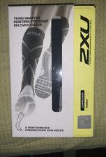 2XU Women Compression performance X socks, Black / White. Large