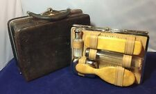 Vintage Antique Leather Travel Vanity Case Bag with Contents 1920's