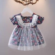 Girls summer short-sleeved dress floral gauze skirt 1-3 years old princess dress