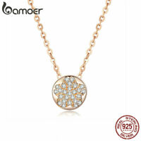 BAMOER Women Rose Necklace S925 Sterling Silver Chain freshnessf Pendant Jewelry