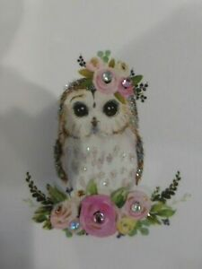 Papyrus All Occasions greeting card-little owl all decked out w/ glitter & Gems