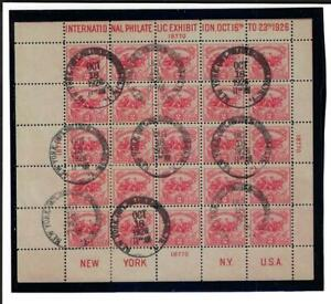 US SCOTT 630 PANE OF 25 WHITE PLAINS STAMPS USED FIRST DAY CANCEL CAT $1800.00