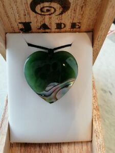 Beautiful Nz paua / Jade heart shape large pendant / Long necklace