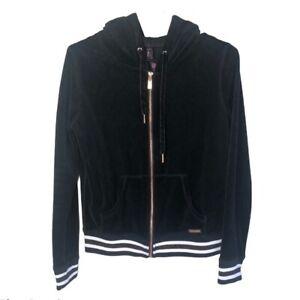 Betsy Johnson Black Velvet Jacket Rose Gold Zipper White Athletic Stripes S