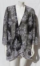 ALFANI Black White Stretch Lace Floral Open Draped Front Jacket Top size M L EUC