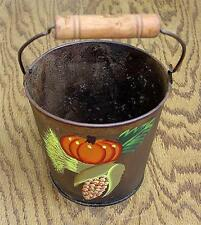 "DECORATIVE ""FALL BOUNTY"" ARTIST AGED & HAND-PAINTED TIN BUCKET WITH BALE HANDLE"
