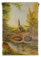 French Impressionist Oil Painting, French Landscape River Marne Church 1902