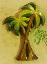 "Vintage Retro Art Deco 1940""s Celluloid Plastic Palm Tree Brooch Pin"
